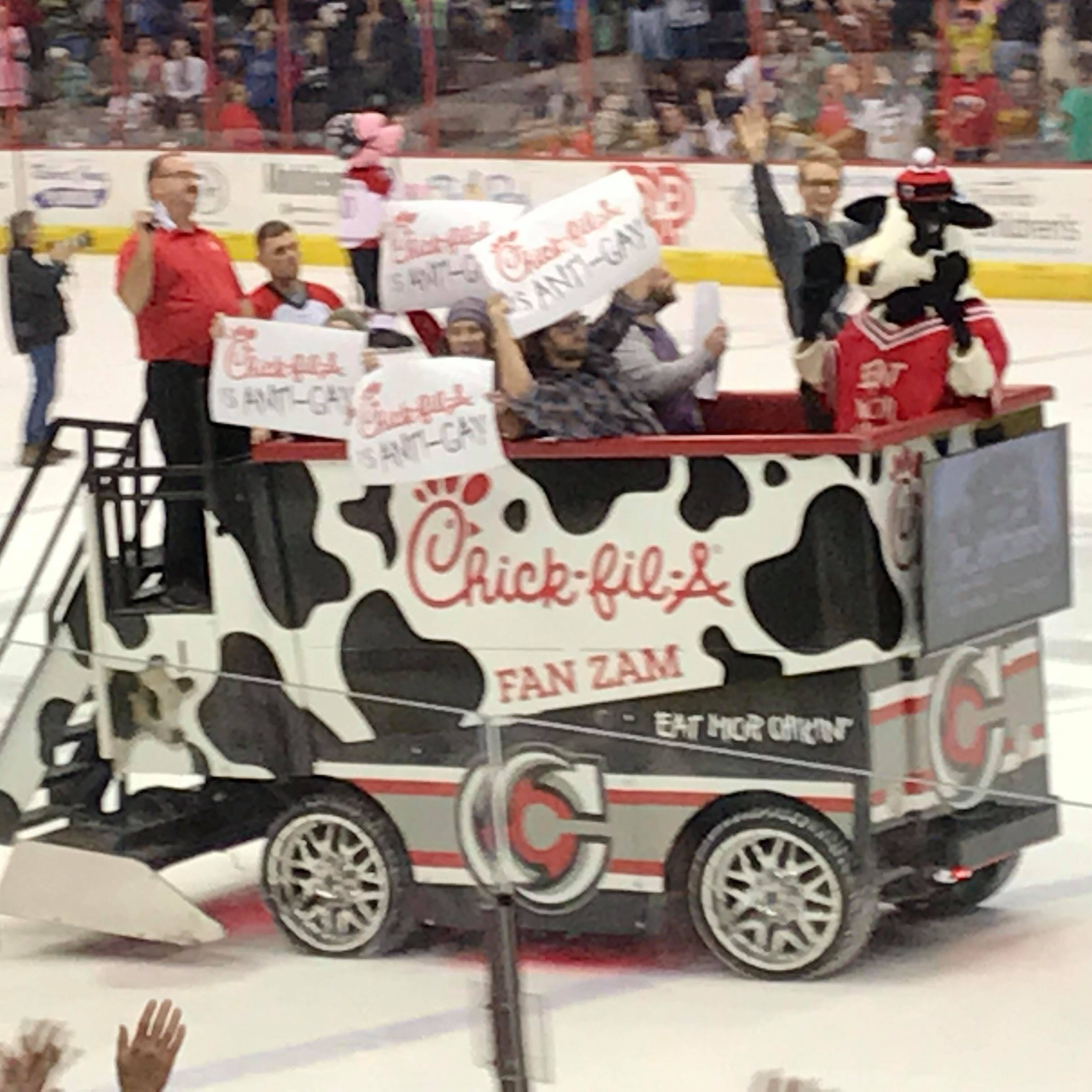 """Chick-fil-A is ANTI-GAY"" protesters ride Cincinnati Cyclones Zamboni"