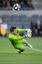 FC Cinncinati goalkeeper Spencer Richey (18) makes a save during the first half against the Los Angeles FC at Banc of California Stadium. Mandatory Credit: Kelvin Kuo-USA TODAY Sports