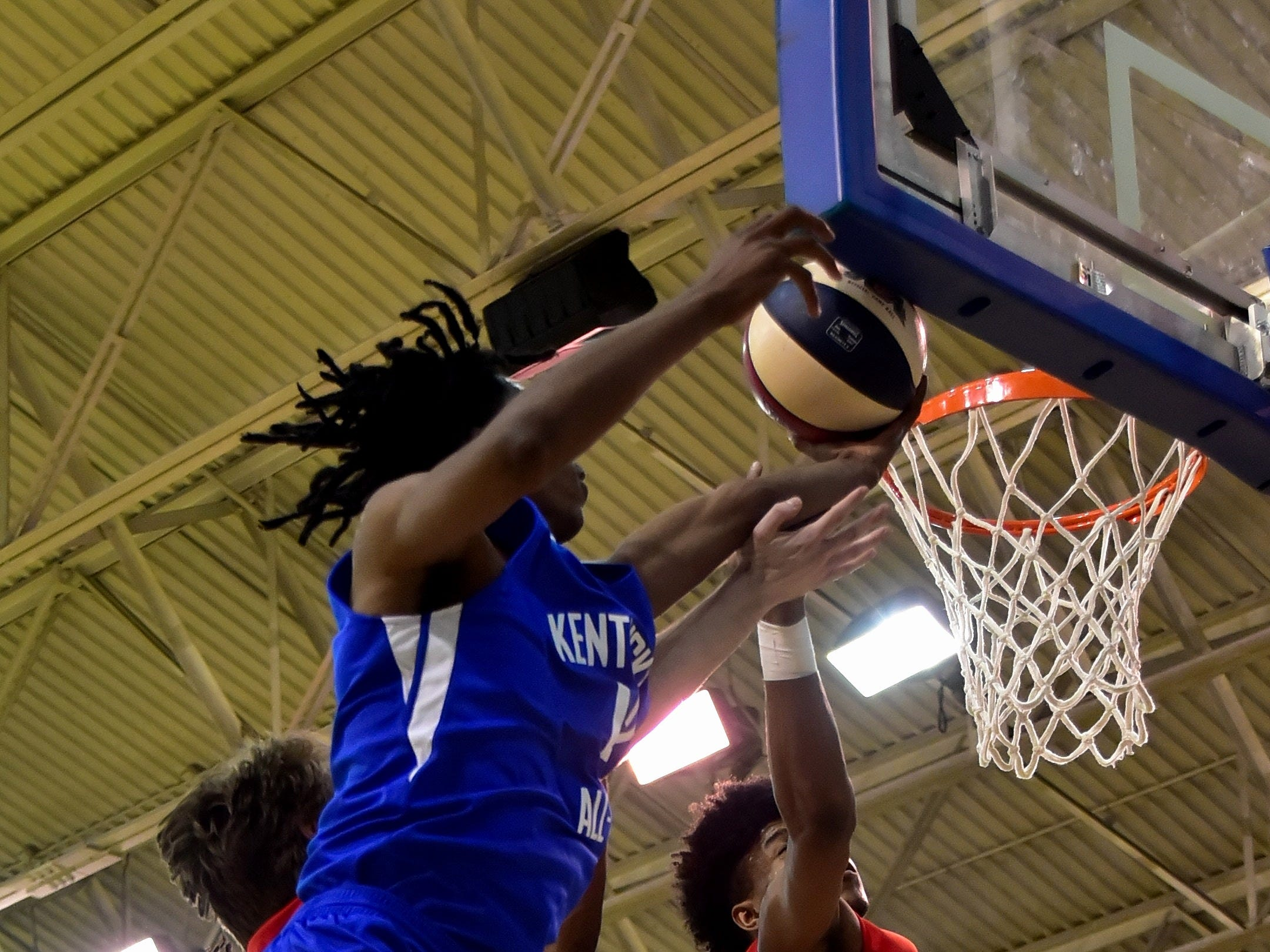 Dieonte Miles of Walton-Verona pulls down a rebound for the Kentucky boys team at the 28th Annual Ohio-Kentucky All Star Games played at Thomas More University, April 13, 2019
