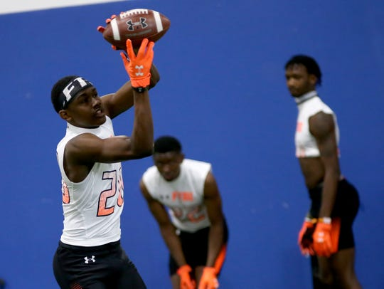 Princeton wide receiver Sterling Berkhalter (20) catches a pass during the Under Armour All-American  Camp in Cincinnati, Sunday, April 14, 2019.