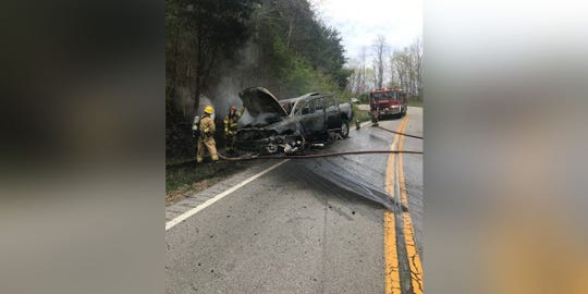 An accident on Rabbit Hash Road left two vehicles in flames on Sunday.