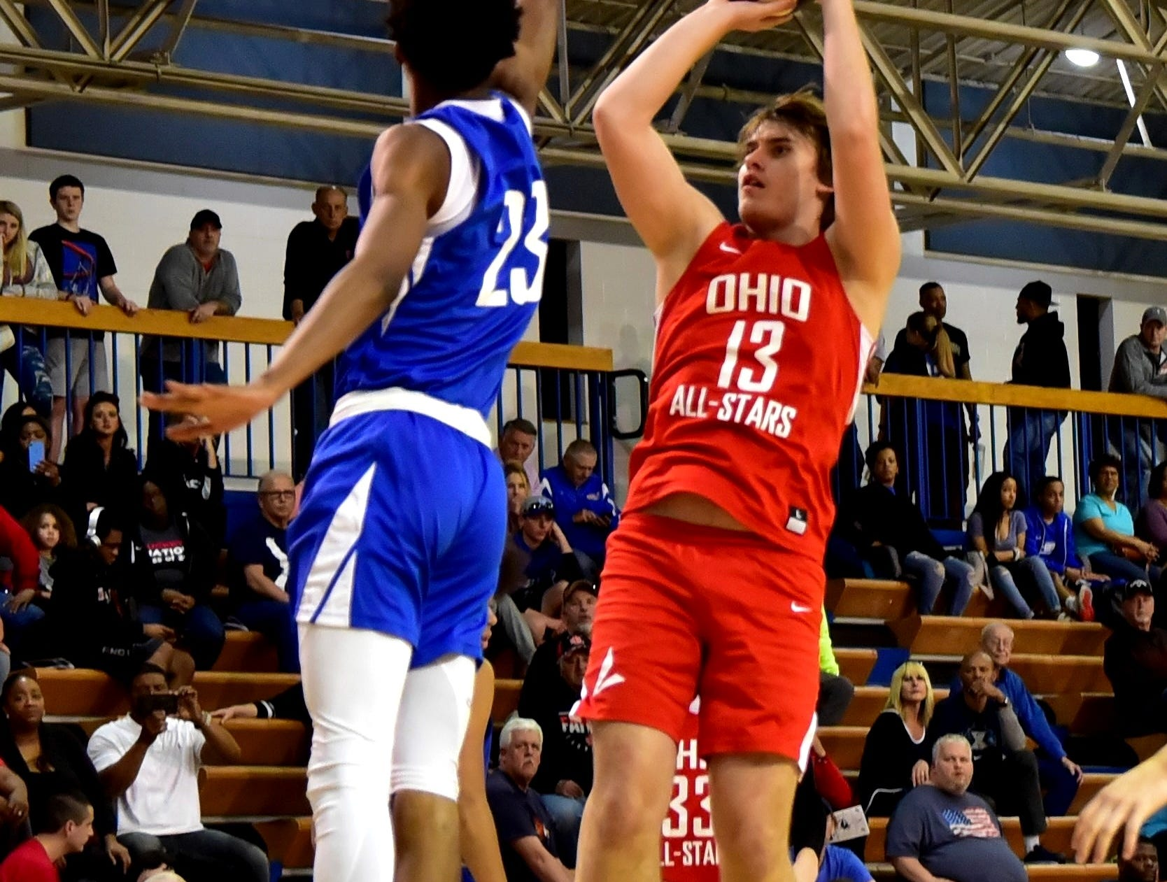 Mason Darby (13) of Oak Hill cashes in a jump shot for the Ohio boys team in late action at the 28th Annual Ohio-Kentucky All Star Games played at Thomas More University, April 13, 2019