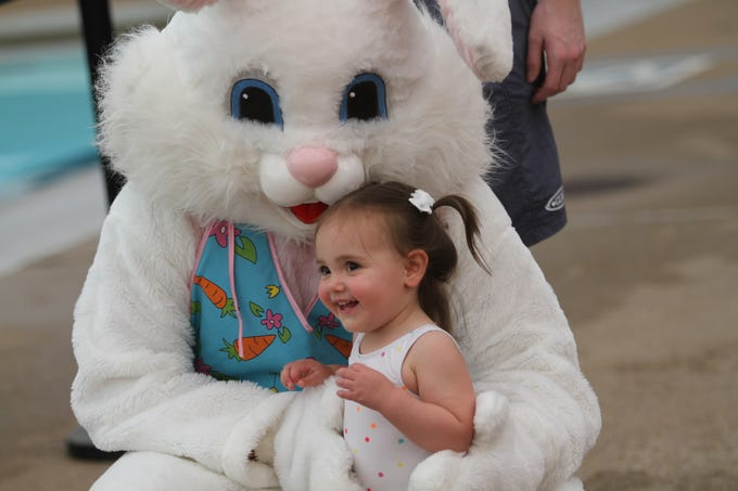 Emily Mcgrory with the Easter Bunny at the Wettest Egg Hunt at the New Providence Aquatic Center on Saturday, April 13, 2019.