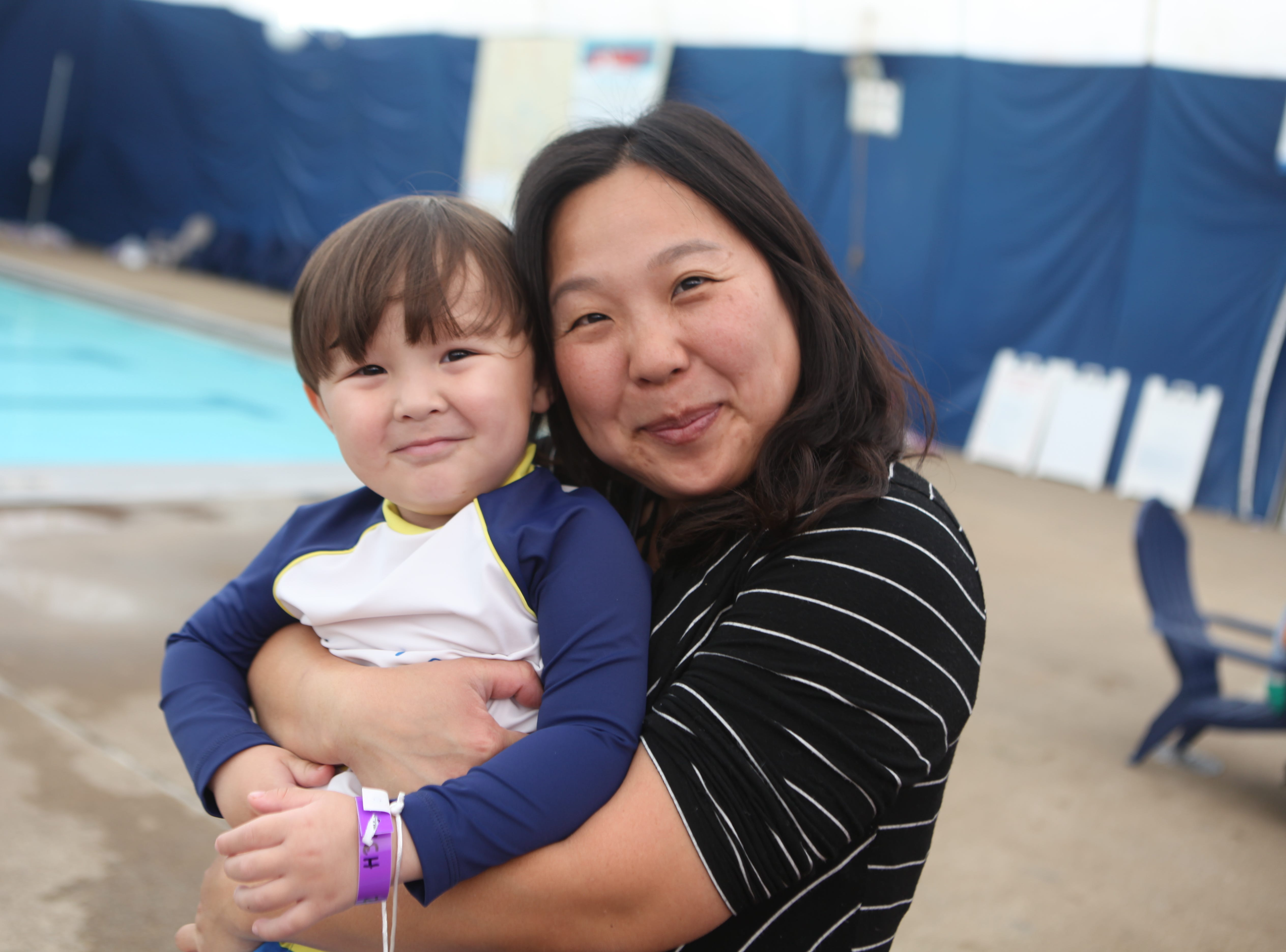 Liam Guy and Okhee Kim at the Wettest Egg Hunt at the New Providence Aquatic Center on Saturday, April 13, 2019.