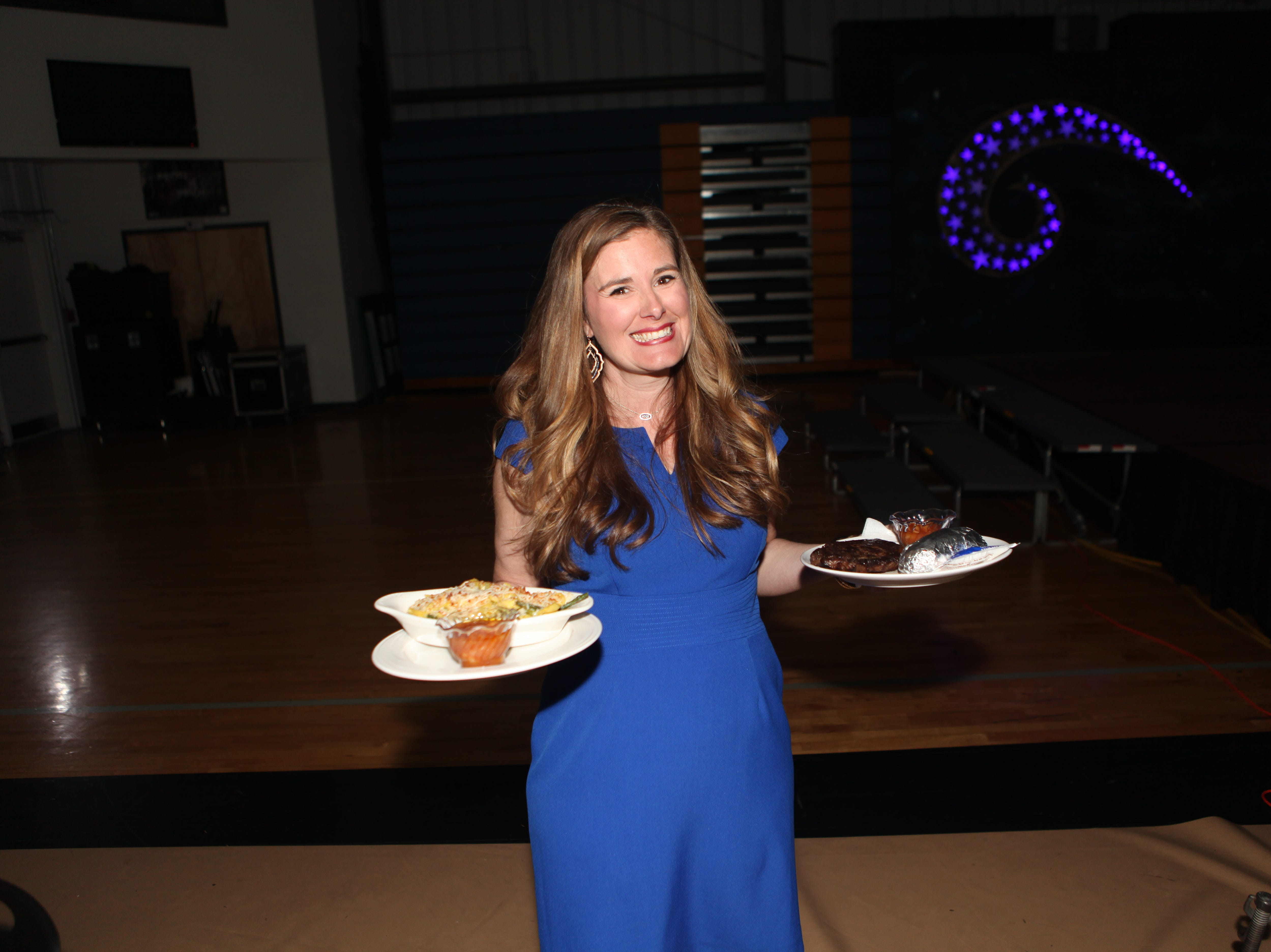 Sally Allen helping out at Clarksville Academy's Steak Dinner on Saturday, April 13, 2019.