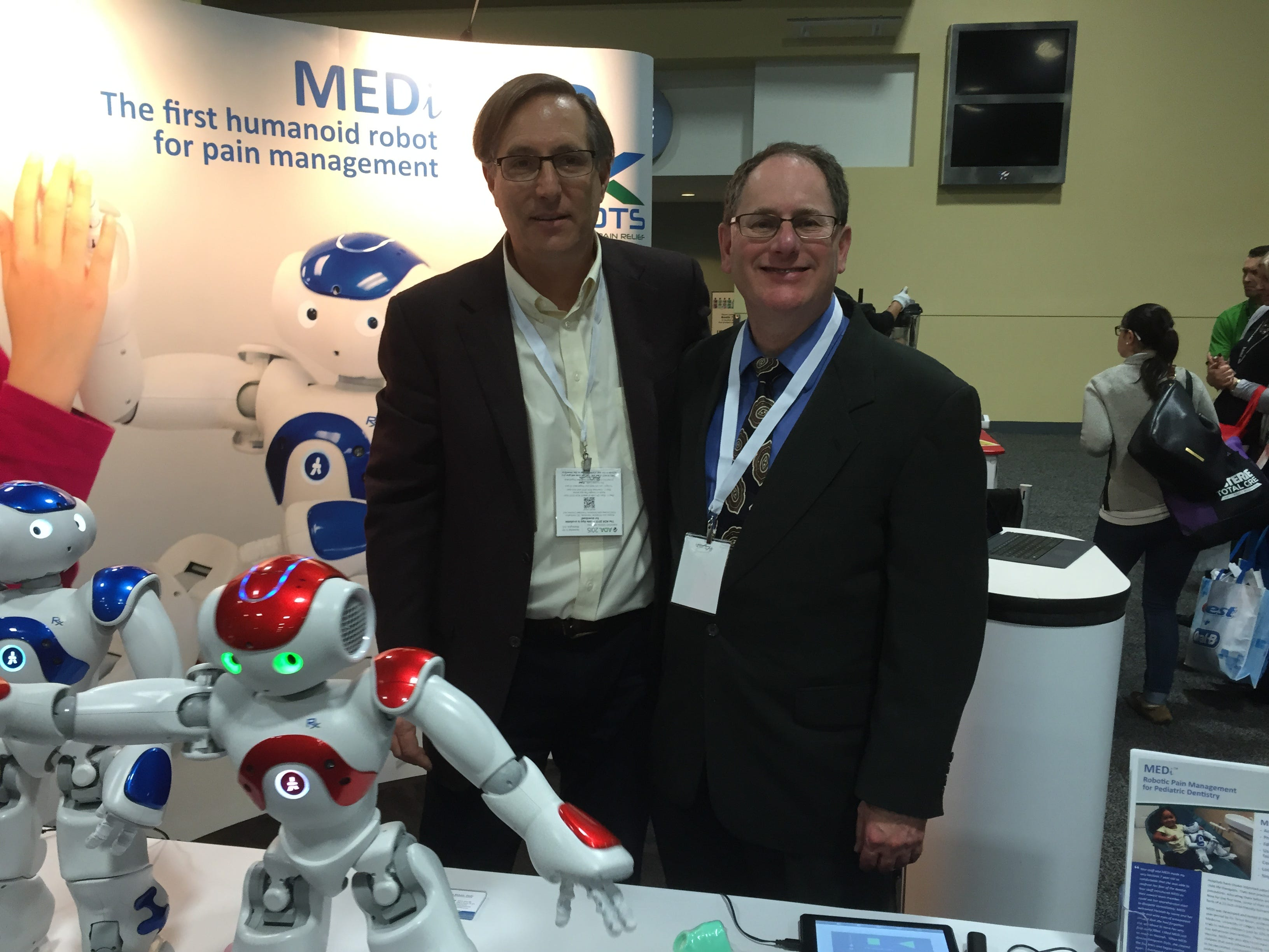 Mark Williams, formerly of RX Robots out of Canada, introduced Dr. Richard Olin of Rahway to the use of robots for medical use. Now on staff for four years at Olin Dental Group, Medithe robot isprogrammed to act asa companion along side children in a dental operatory. Medi is able to speak to children at their level and decrease their concerns, anxietyand fears when they come to the dentist.