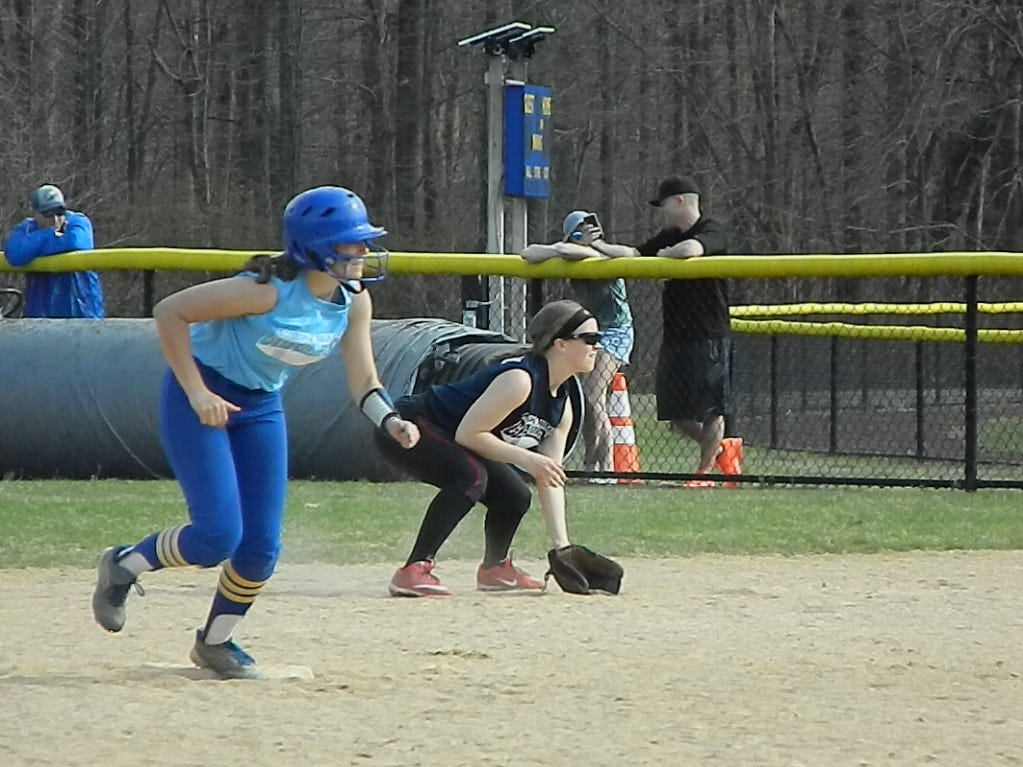 The Woodbridge softball team plays against North Brunswick during the Autism Awareness Challenge on Saturday, April 13, 2019 at North Brunswick Community Park.