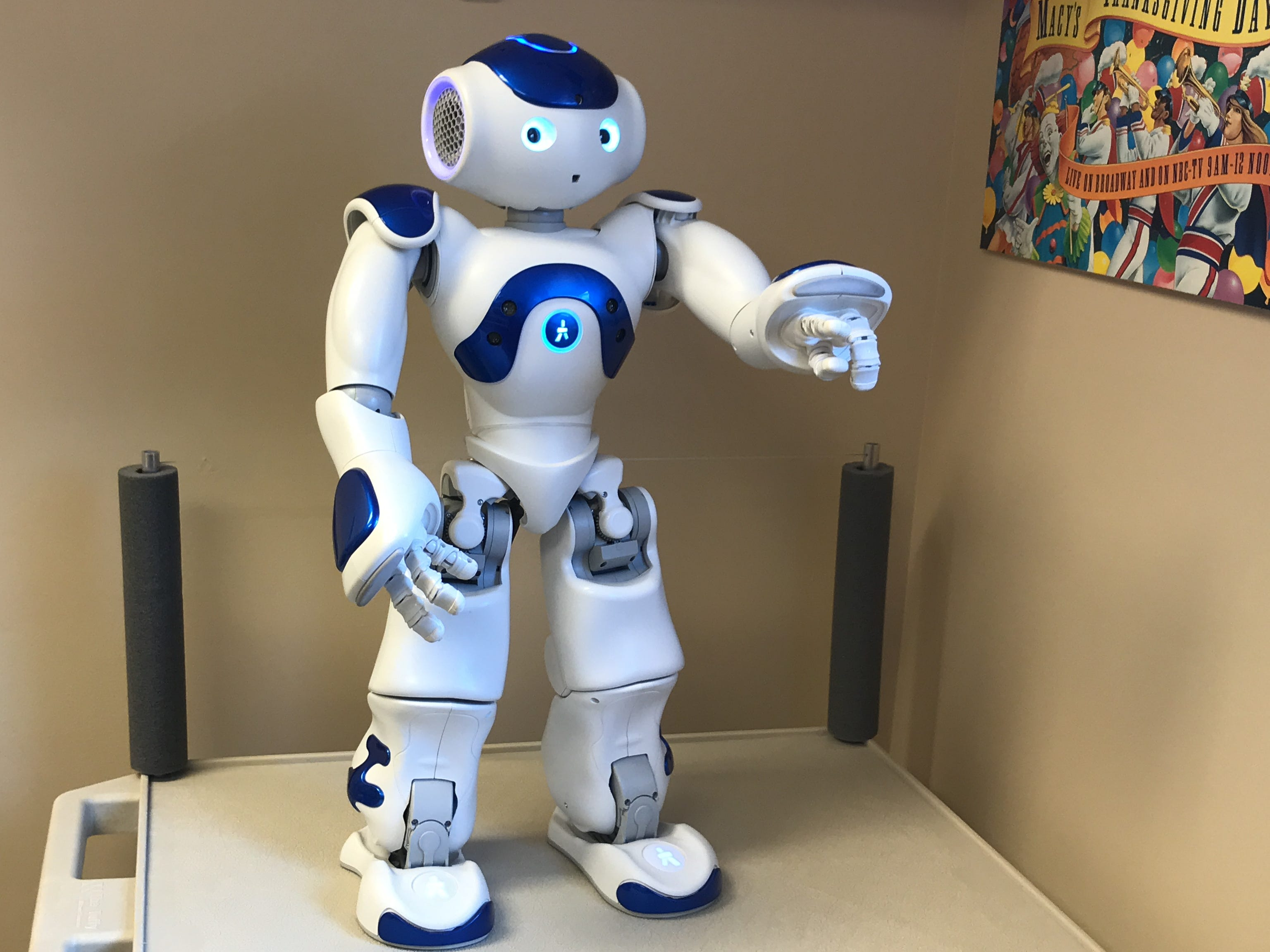 On staff for four years at Olin Dental Group, Medithe robot isprogrammed to act asa companion along side children in a dental operatory. Medi is able to speak to children at their level and decrease their concerns, anxietyand fears when they come to the dentist.