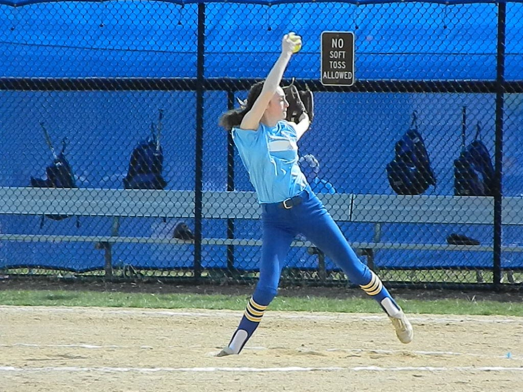 North Brunswick's Lauren Duffy pitches against Woodbridge during the Autism Awareness Challenge on Saturday, April 13, 2019 at North Brunswick Community Park.