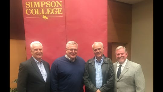 State Rep. Scott Ourth attended a symposium on sustainable communities at Simpson College. He is pictured with Fairfield Mayor Ed Malloy, Indianola Mayor Kelly Shaw, and former Indianola Mayor Jerry Kelley.