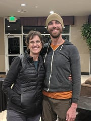 Eric DeSplinter, a 33-year-old Iowa native, stands with his mother after going missing for five days in the San Gabriel Mountains in California.