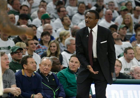 Detroit Pistons head coach Dwane Casey reacts to a call during the first half of Game 1 against the Milwaukee Bucks, Sunday, April 14, 2019, in Milwaukee.
