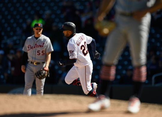 Eddie Rosario rounds the bases after hitting a solo home run off Daniel Norris during the seventh inning at Target Field in Minneapolis.