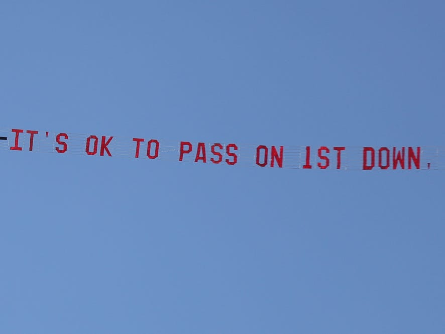 A message for Michigan head coach Jim Harbaugh during the spring game Saturday, April 13, 2019 at Michigan Stadium in Ann Arbor.