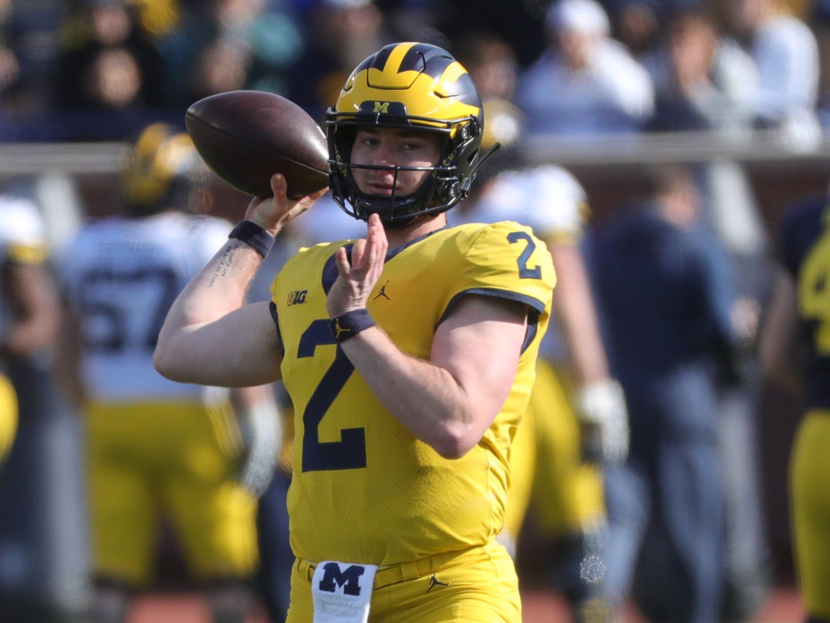 Michigan quarterback Shea Patterson passes during the spring game Saturday, April 13, 2019 at Michigan Stadium in Ann Arbor.