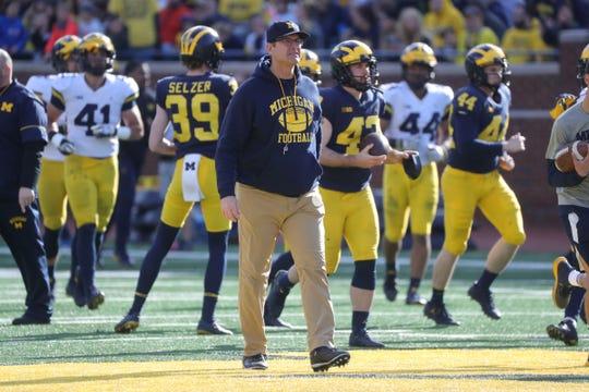 Michigan head coach Jim Harbaugh during the spring game Saturday, April 13, 2019 at Michigan Stadium in Ann Arbor.