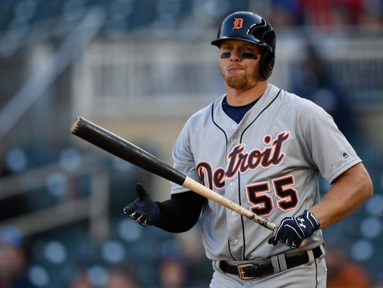 John Hicks of the Detroit Tigers reacts to striking out against the Minnesota Twins during the ninth inning April 14, 2019 at Target Field in Minneapolis.
