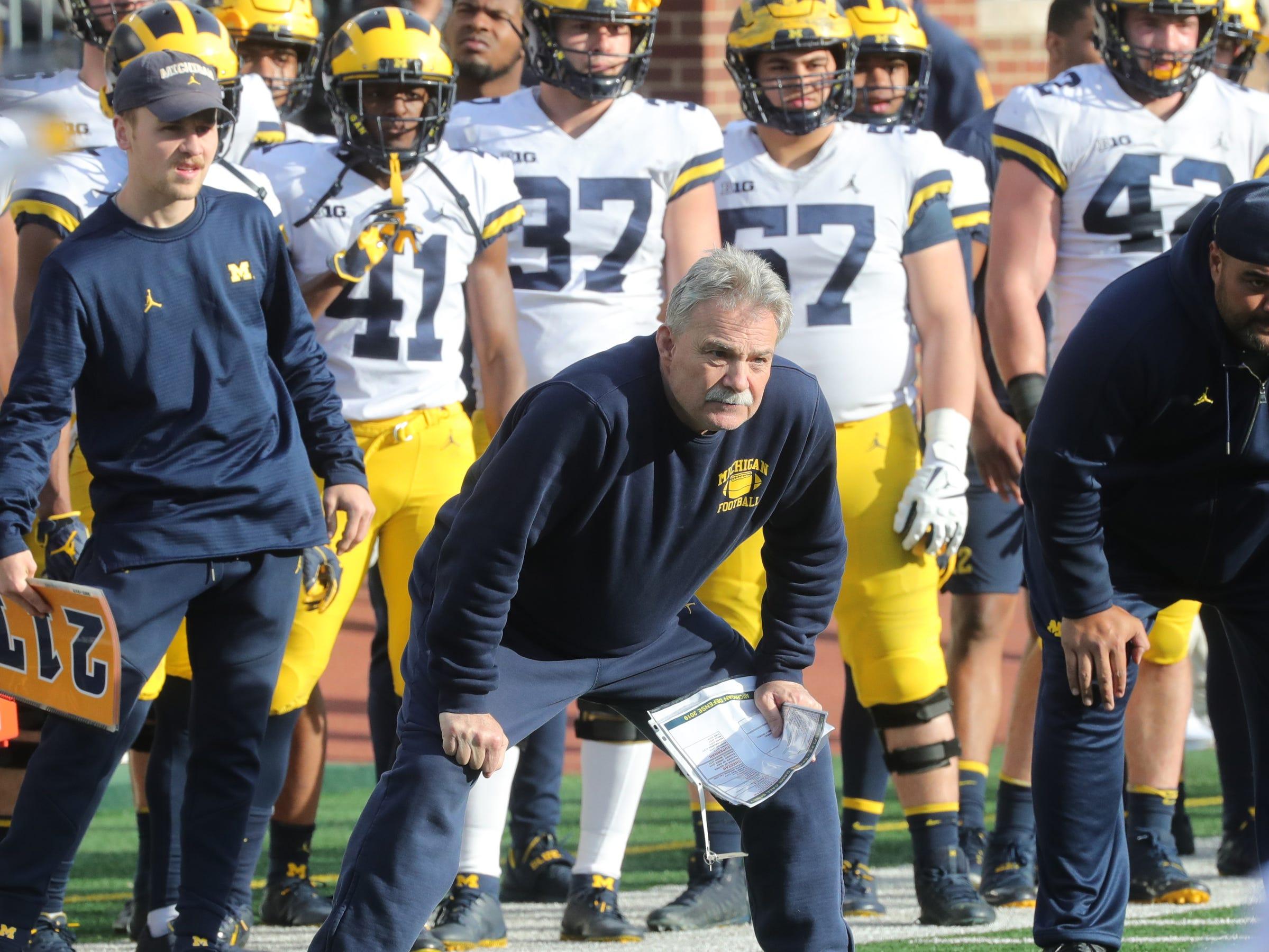 Michigan defensive coordinator Don Brown watches the spring game Saturday, April 13, 2019 at Michigan Stadium in Ann Arbor.