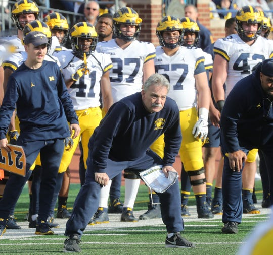 Michigan defensive coordinator Don Brown watches the spring game Saturday, April 13, 2019 at Michigan Stadium in Ann Arbor.