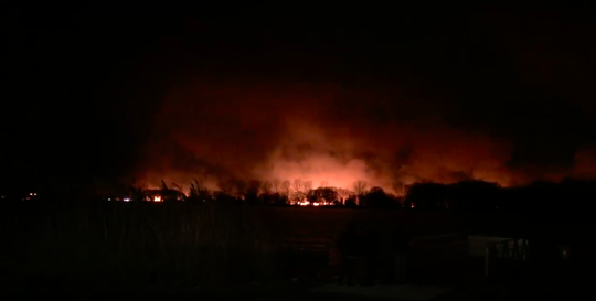 Screen capture of video shared by the Town of LaSalle of a marsh fire that broke out on Fighting Island in Ontario on Saturday, April 13, 2019.