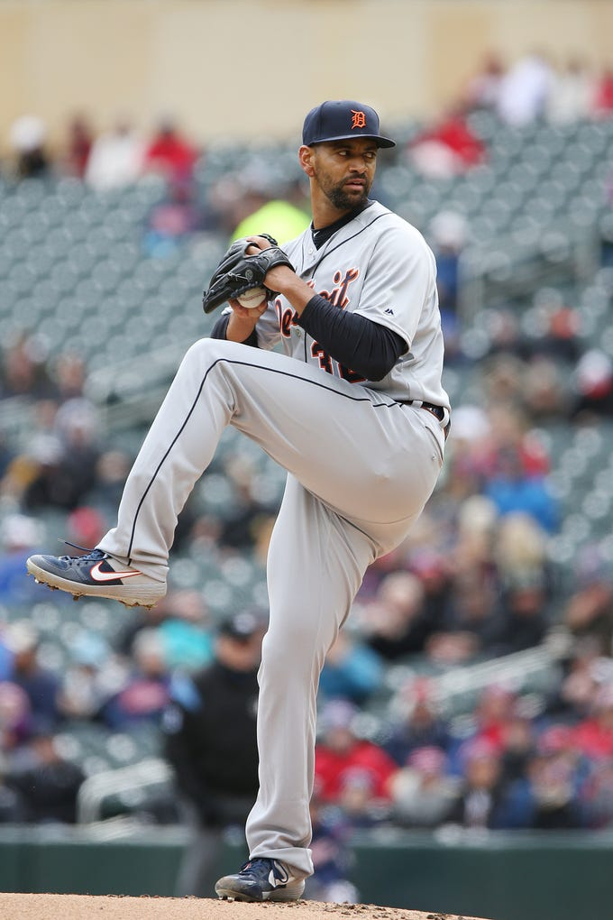 Detroit Tigers pitcher Tyson Ross throws in the first inning of a baseball game against the Minnesota Twins, Saturday, April 13, 2019 in Minneapolis. The Twins won 4-3.