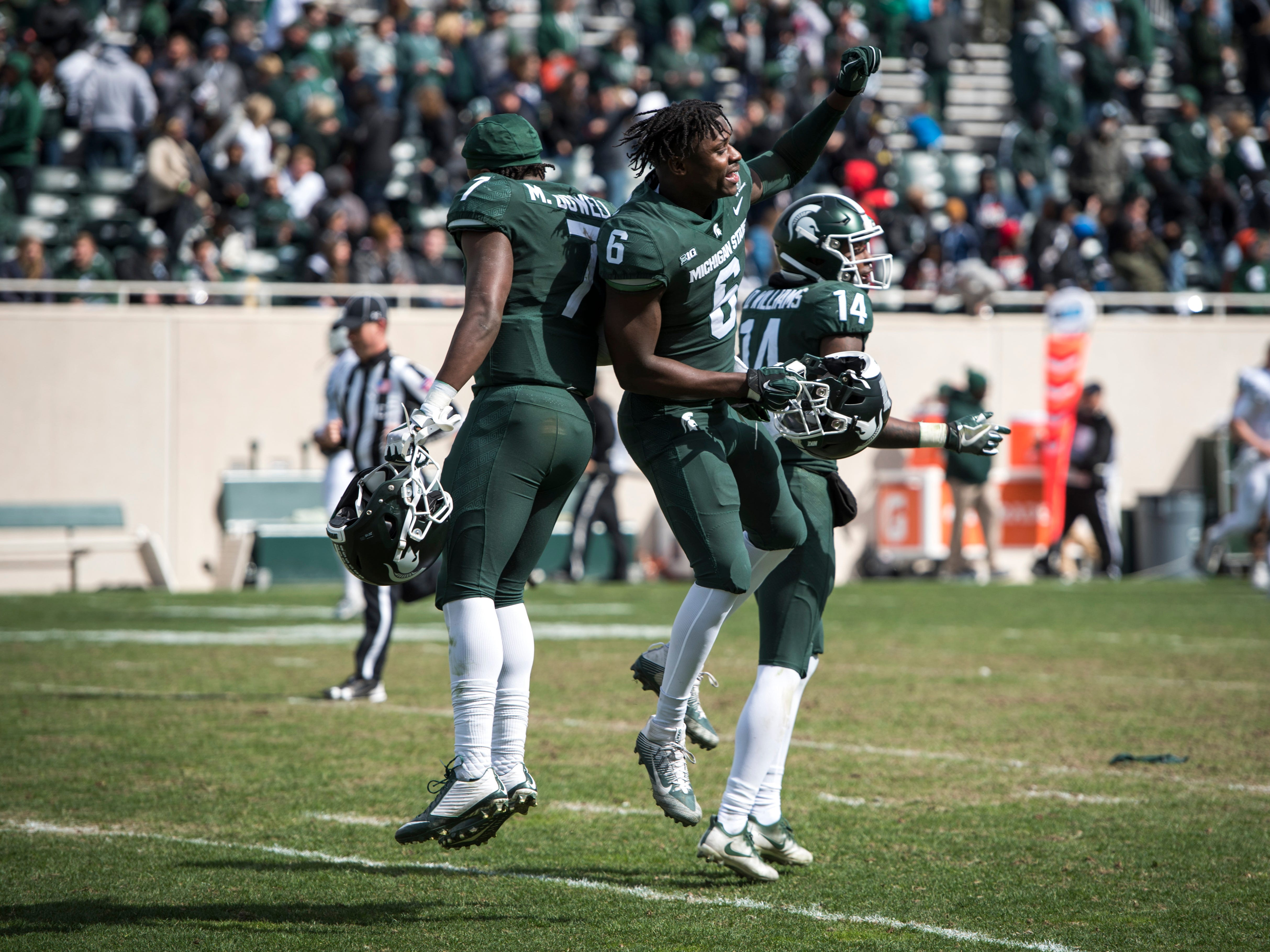 Safety Michael Dowell celebrates with safety Michael Dowell.