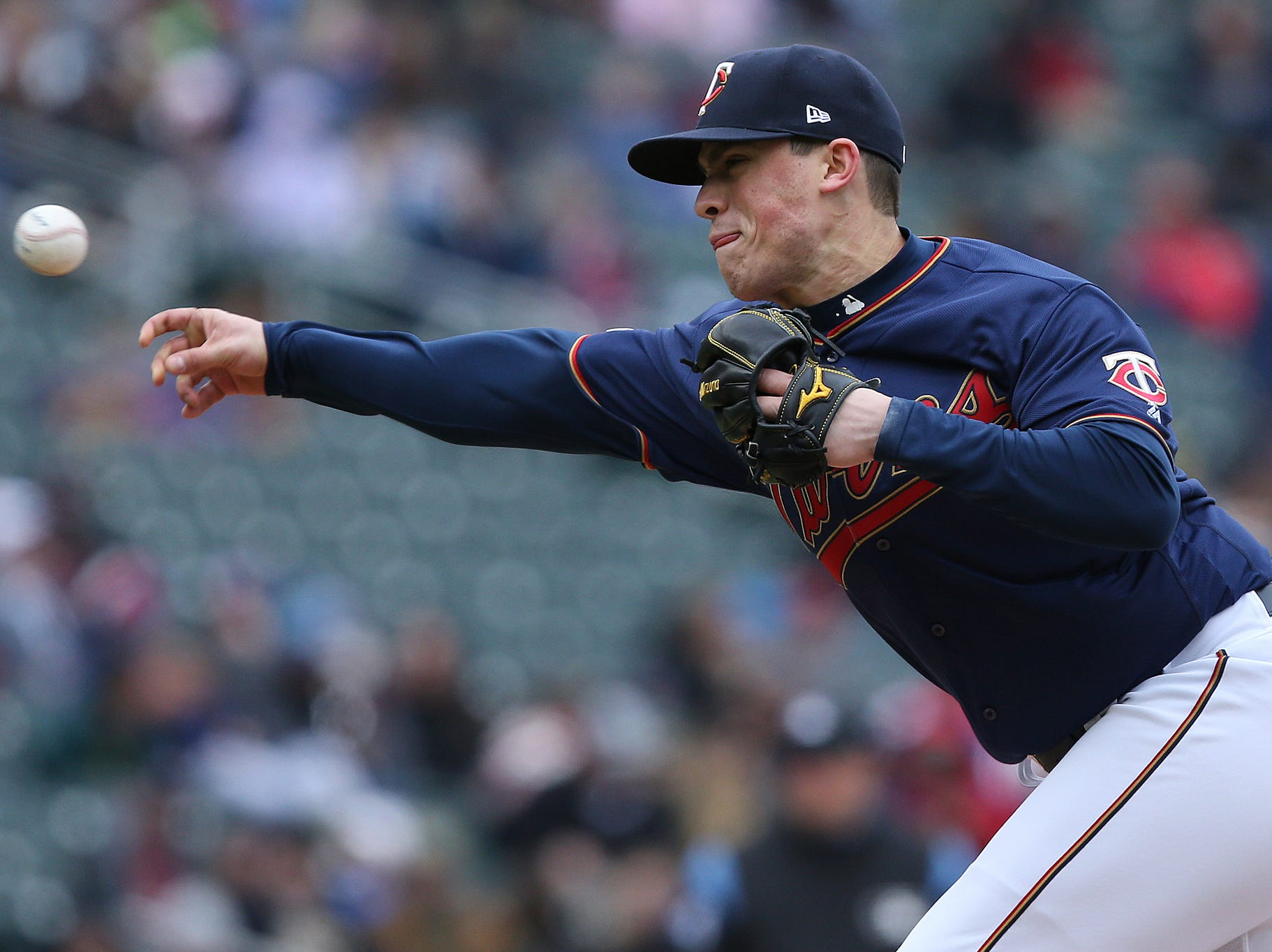 Minnesota Twins pitcher Trevor Hildenberger throws in the seventh inning. The Twins won 4-3.