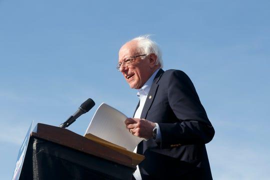 U.S. Senator Bernie Sanders speaks to supporters.