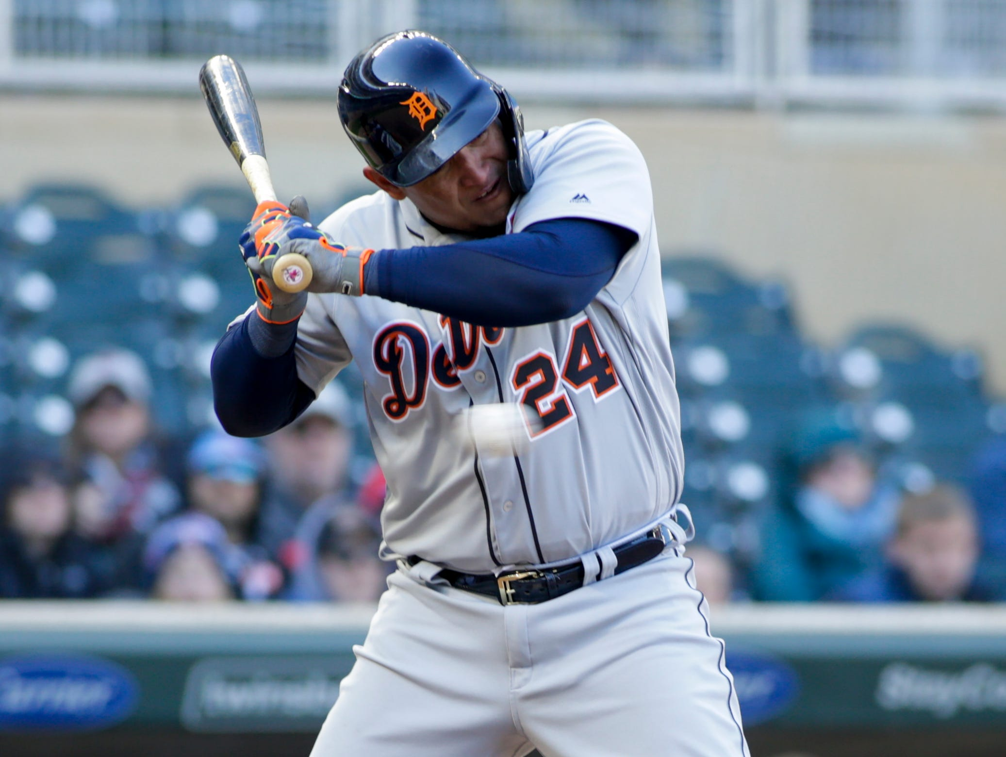Detroit Tigers' Miguel Cabrera (24) ducks to get out of the way of an inside pitch during the ninth inning.