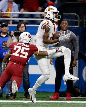 Former Iowa State wide receiver Hakeem Butler (18) could be a Day 2 draft possibility for a Lions team looking for a long-term upgrade to its receivers