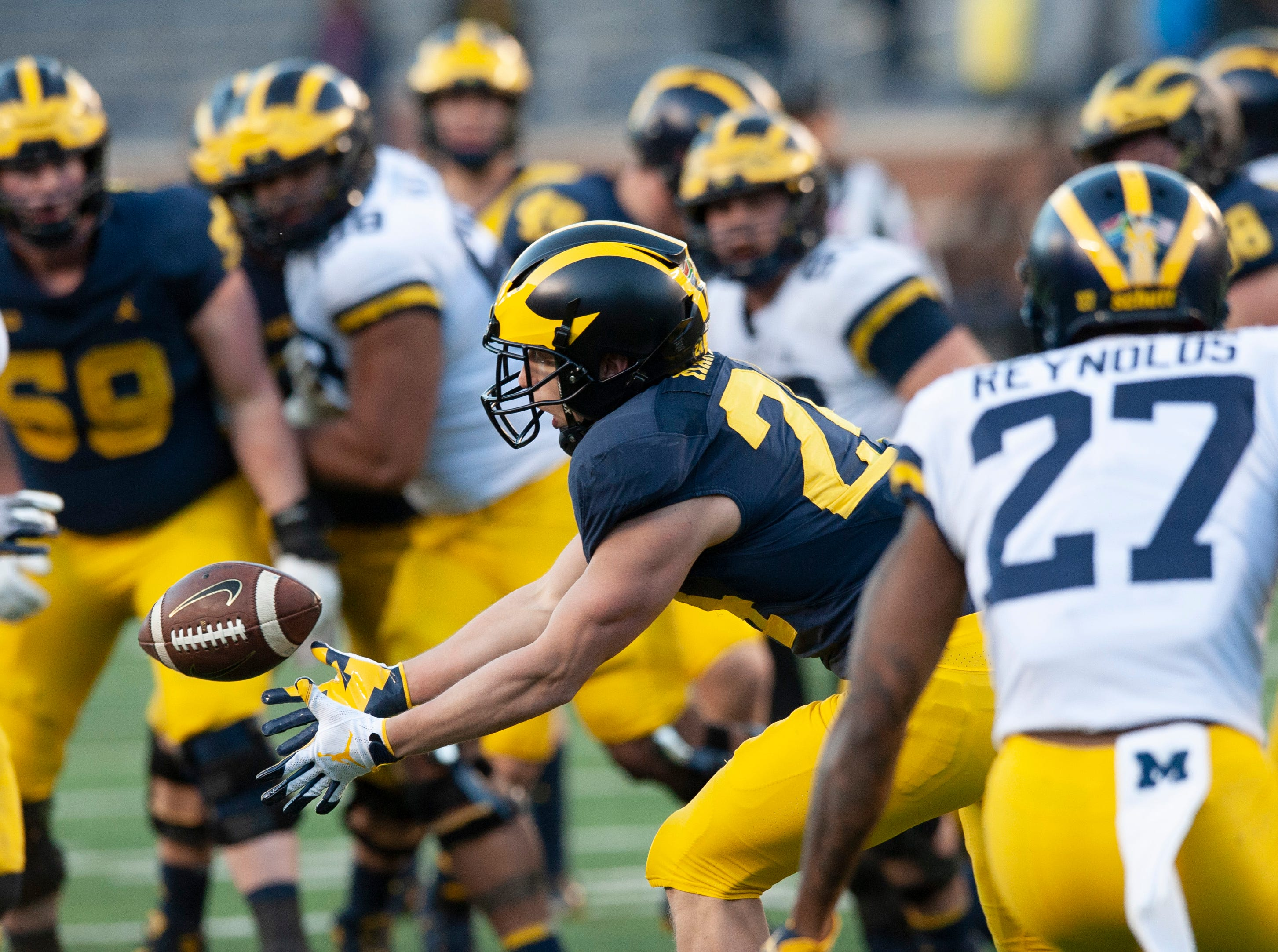 Michigan receiver Jake Martin can't quite pull in this pass during the scrimmage.