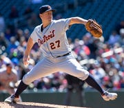 Tigers starting pitcher Jordan Zimmermann (27) gave up eight hits and five runs in Sunday's loss to the Twins.