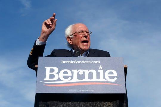 U.S. Sen. Bernie Sanders speaks to supporters on Saturday at Macomb County Community College in Warren.