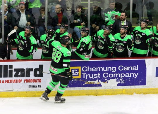 Brandon Vuic is congratulated by teammates after a goal in Game 2 of the Federal Hockey League semifinal series between the Elmira Enforcers and Watertown Wolves on April 13, 2019 at Elmira's First Arena.