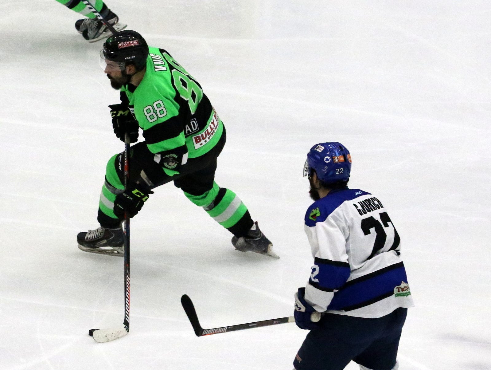 Action from Game 2 of the Federal Hockey League semifinal series between the Elmira Enforcers and Watertown Wolves on April 13, 2019 at Elmira's First Arena.