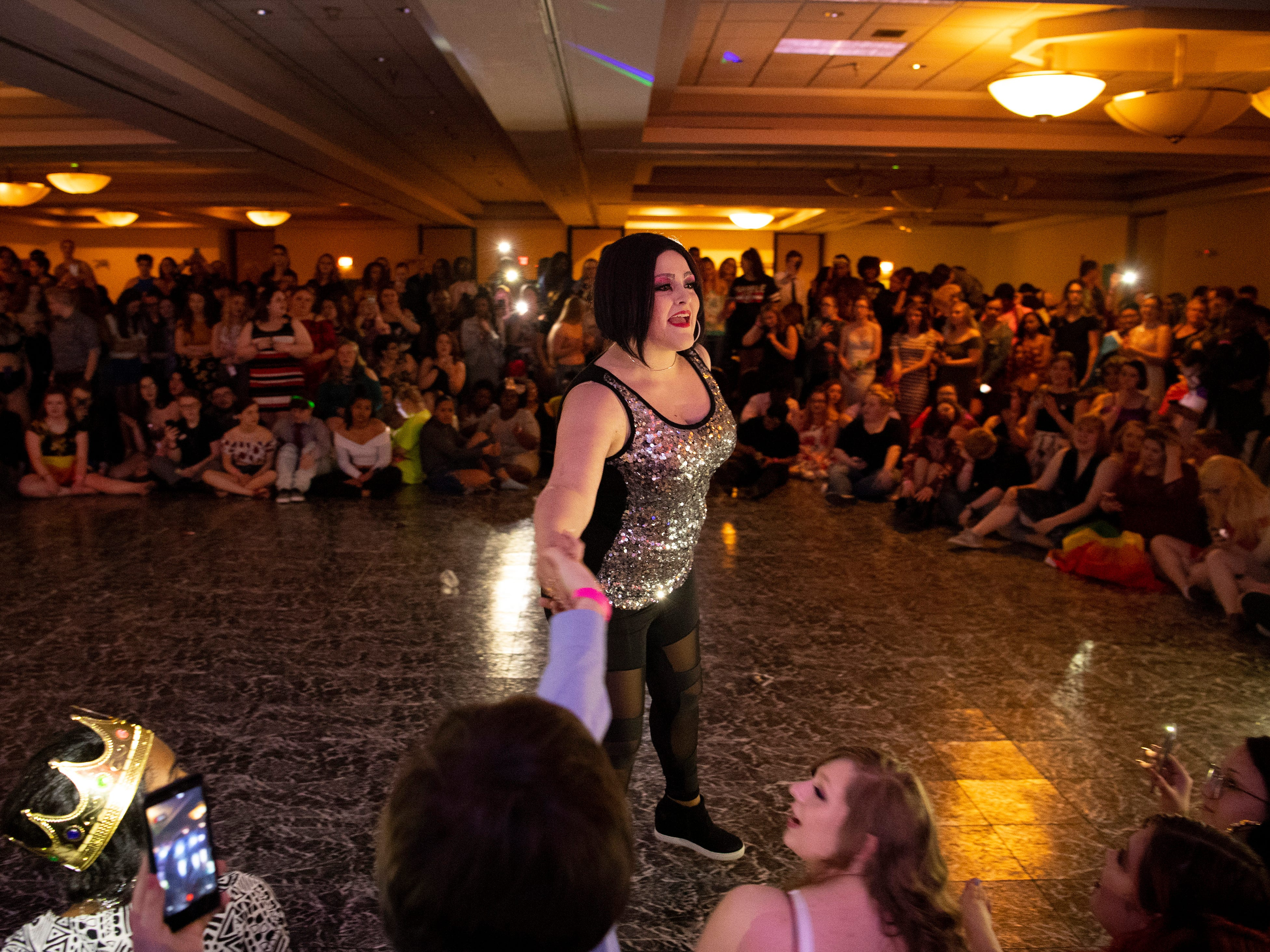 Drag performer Baby Ray performs at the Tri-State Alliance Pride Prom at the Holiday Inn Saturday night.