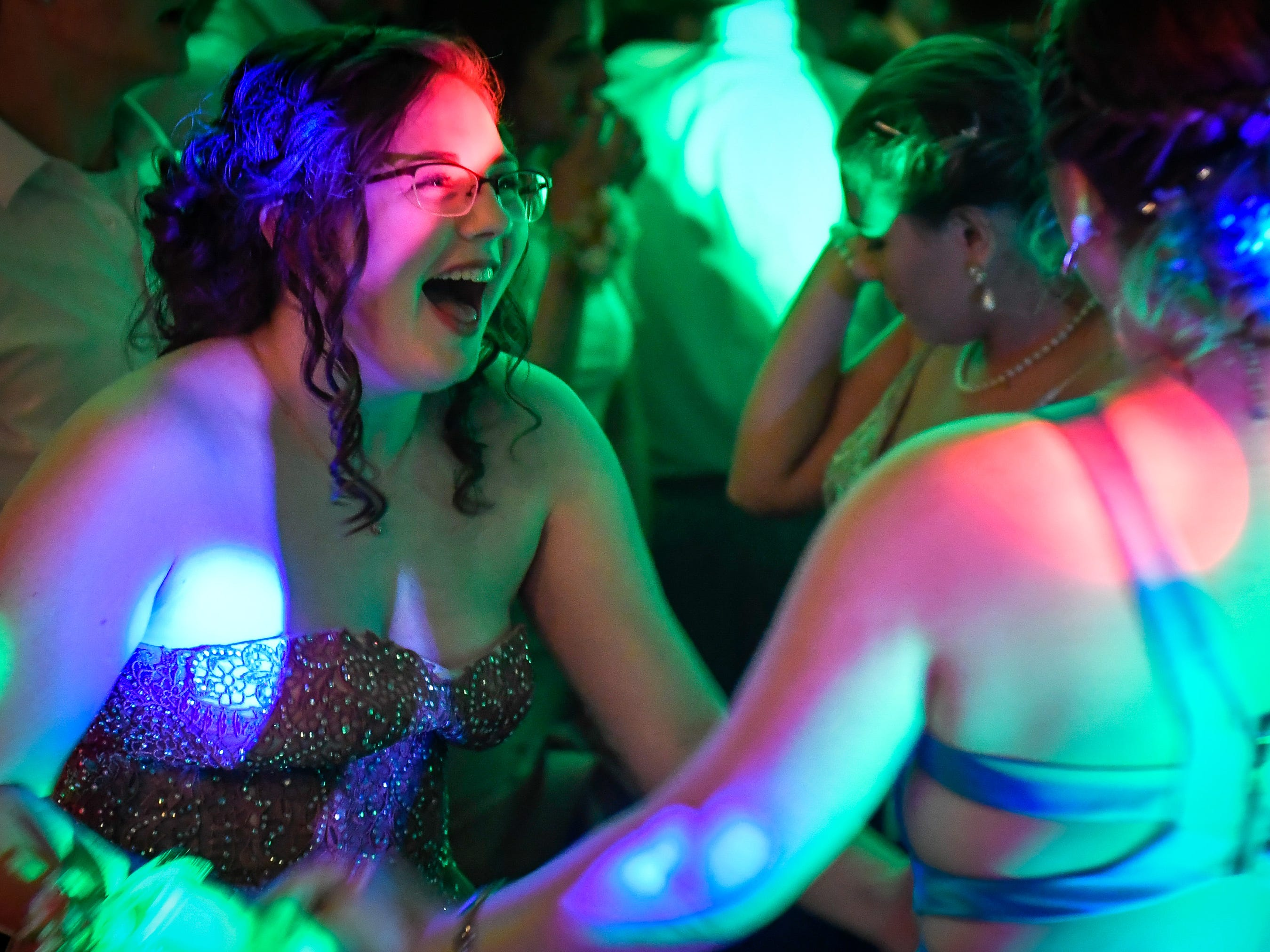 Guillienne Boyd dances with Jade Young at the North High School Prom held at the Old Post Office in downtown Evansville Saturday, April 13, 2019.