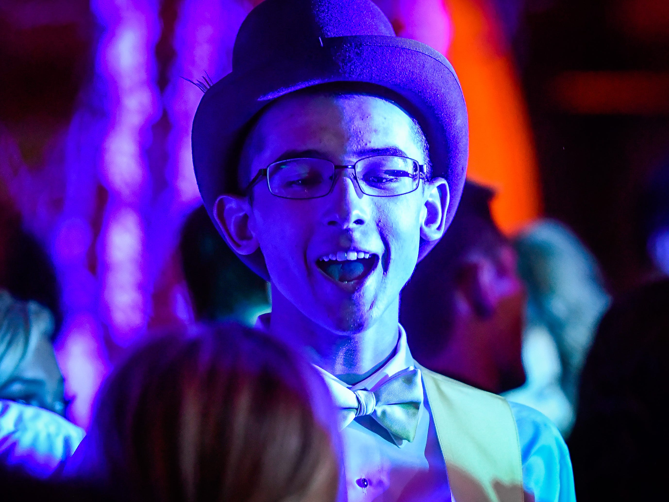 Logan Lasher on the dance floor at the Reitz High School Prom held at the Vanderburgh 4-H Center Saturday, April 13, 2019.