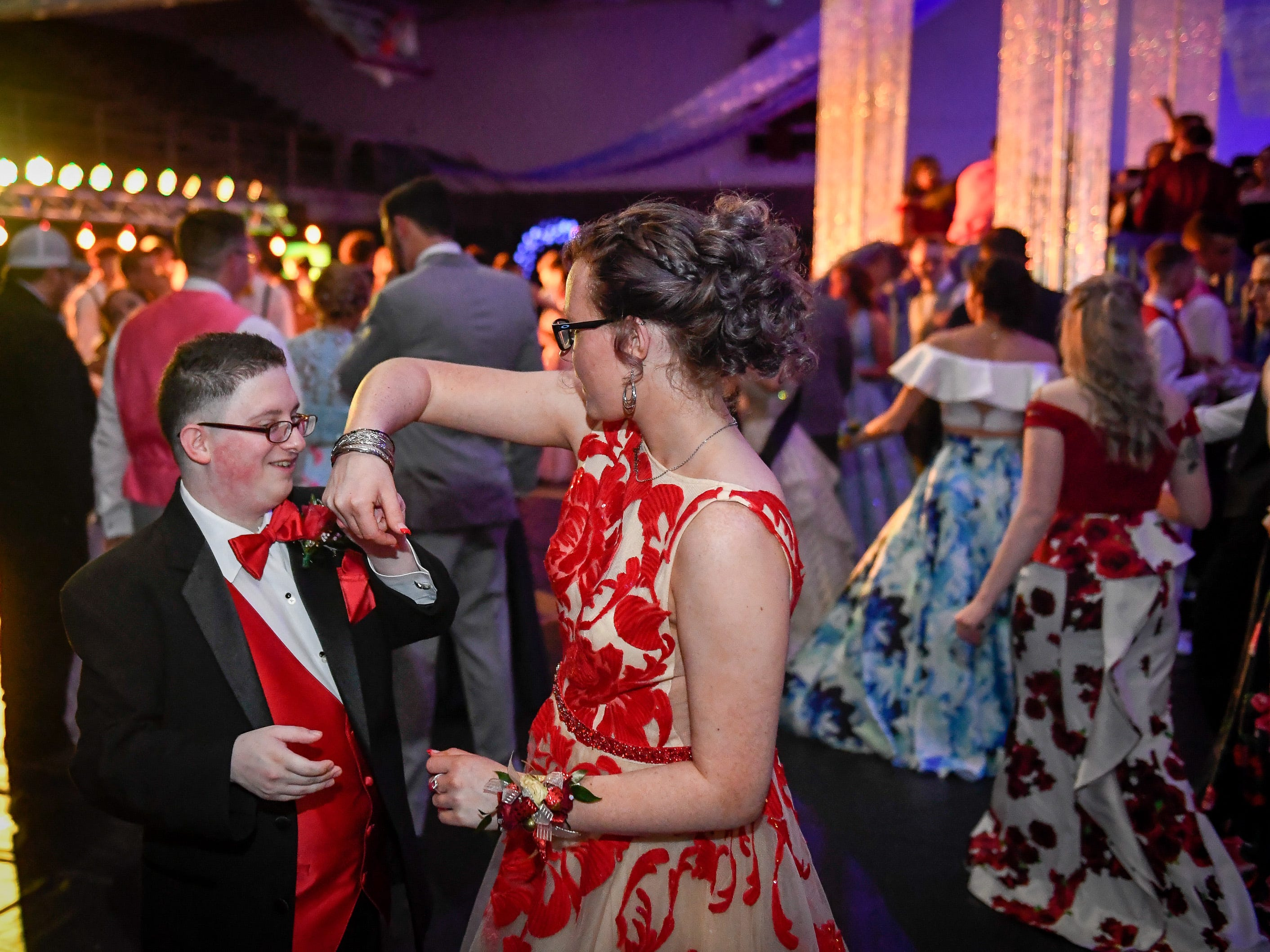 Michael Basmaeji dances with his girlfriend Jaden Yates at the Henderson County High Prom held at Colonel Gym Saturday, April 13, 2019.