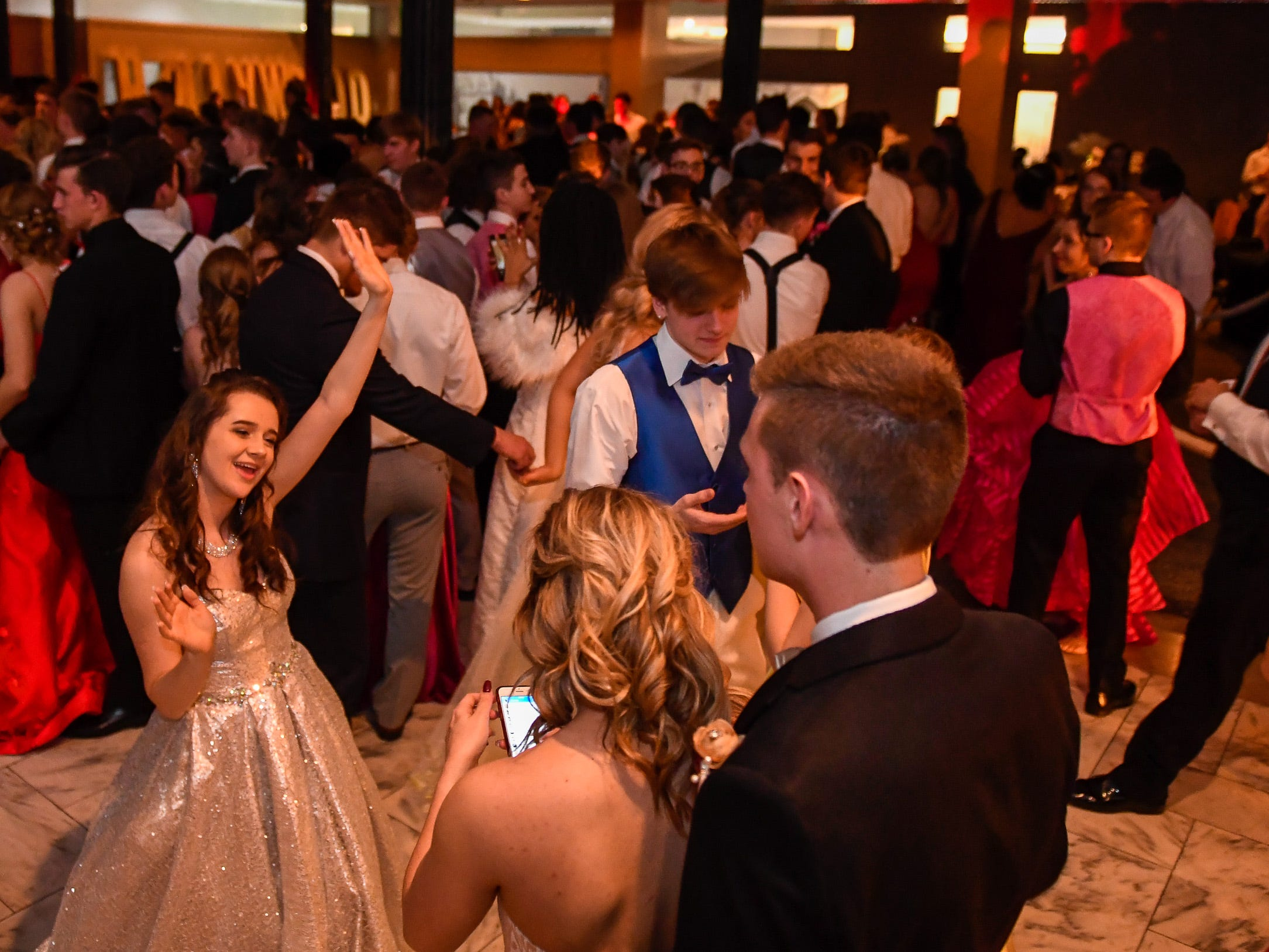 Dancing at the North High School Prom held at the Old Post Office in downtown Evansville Saturday, April 13, 2019.