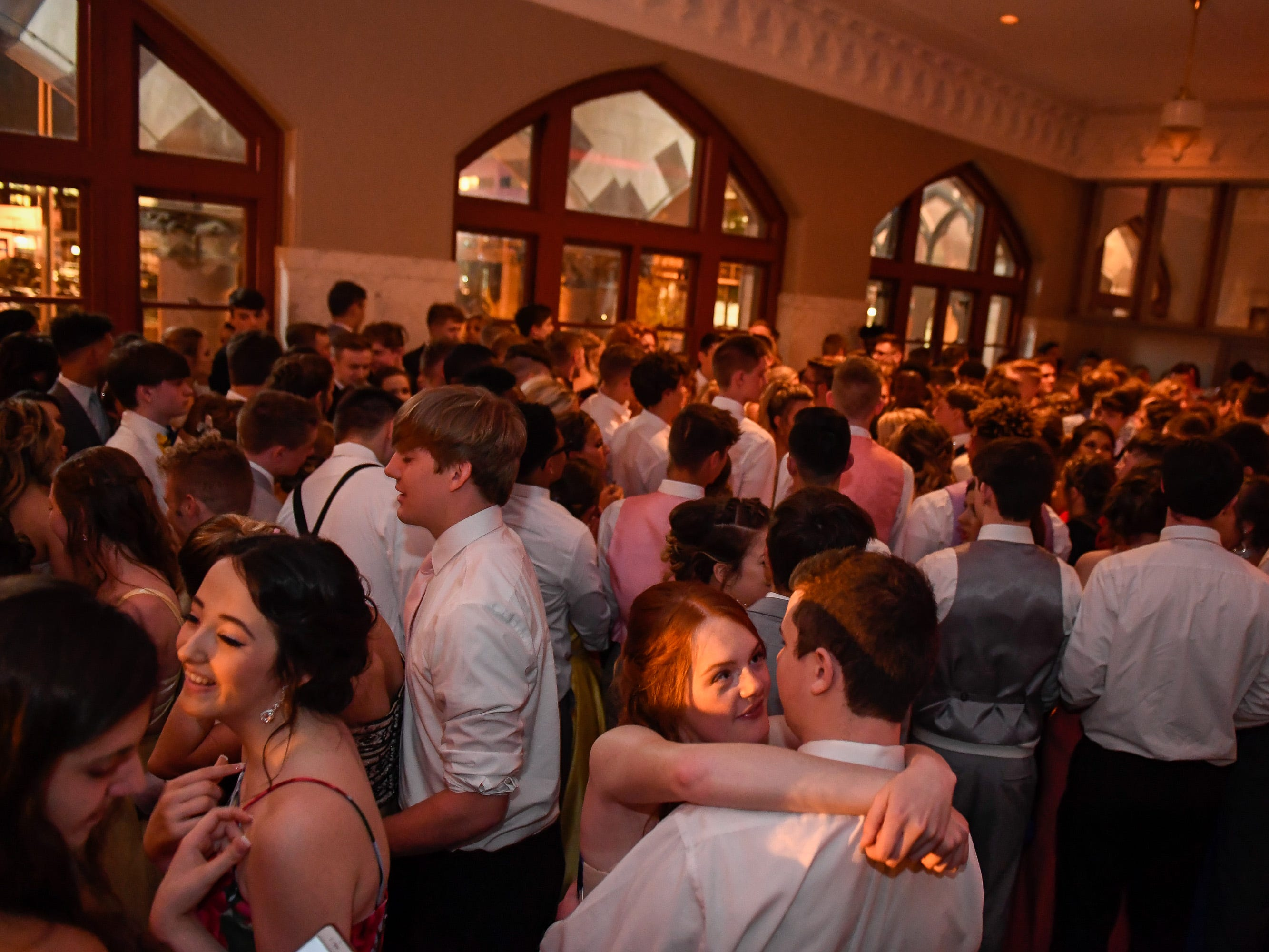 A jammed packed dance floor at the North High School Prom held at the Old Post Office in downtown Evansville Saturday, April 13, 2019.