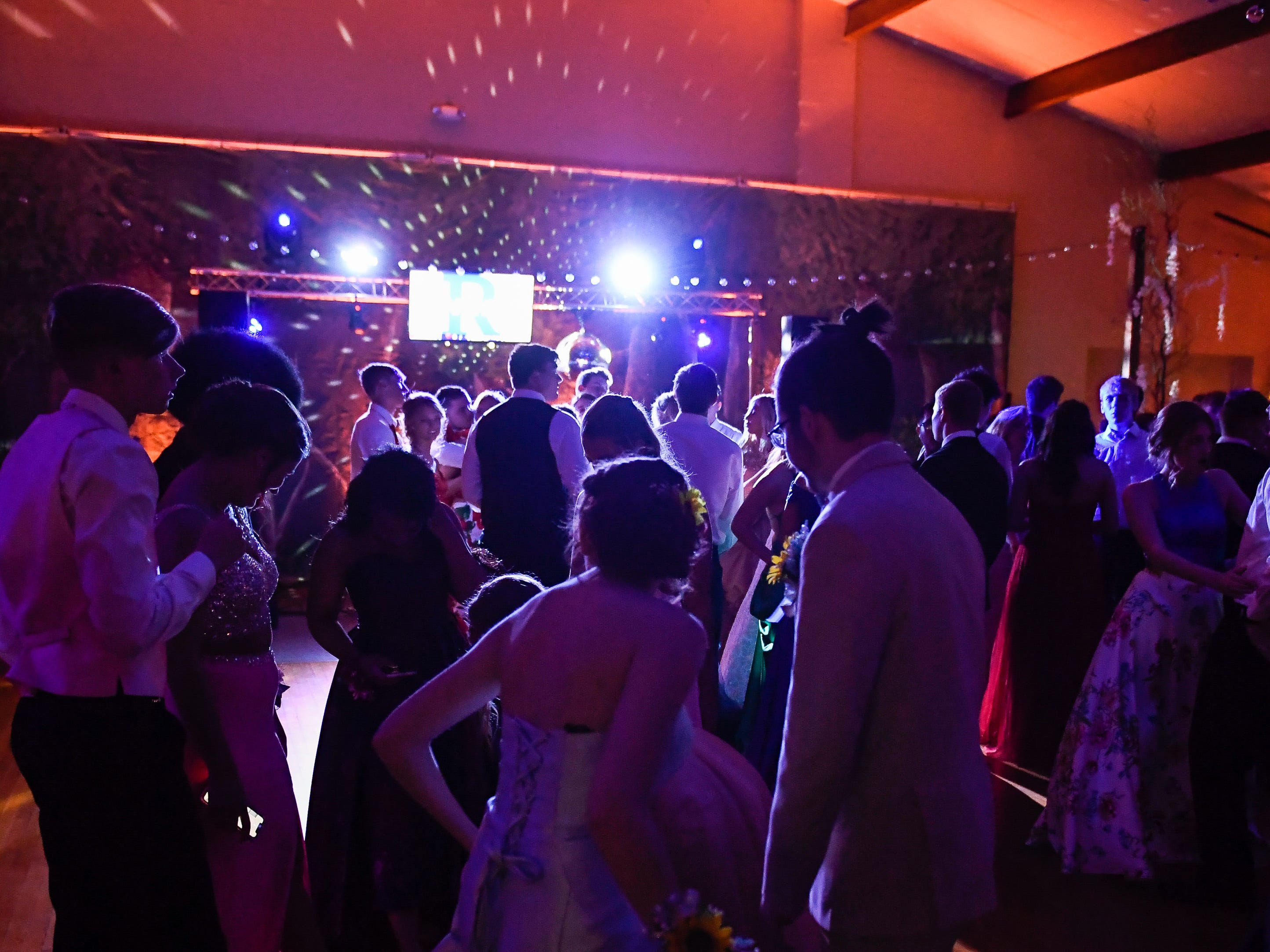 The dance floor at the Reitz High School Prom held at the Vanderburgh 4-H Center Saturday, April 13, 2019.