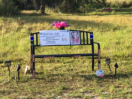 A bench has been placed at a bus stop at Nobel Avenue South and 24th Street SW in Lehigh Acres and dedicated to Layla Aiken, the 8-year-old Cape Coral girl who was hit and killed at a bus stop March 25.