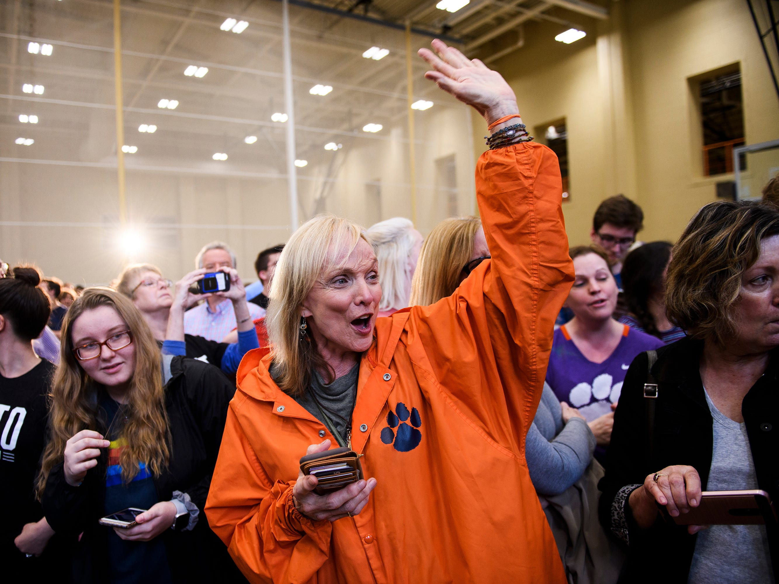 Supporters of democratic presidential hopeful Beto O'Rourke during a rally at Clemson University's Five Recreation Center Sunday, April 14, 2019.