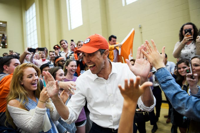 Democratic presidential hopeful Beto O'Rourke speaks at a rally at Clemson University's Five Recreation Center Sunday, April 14, 2019.