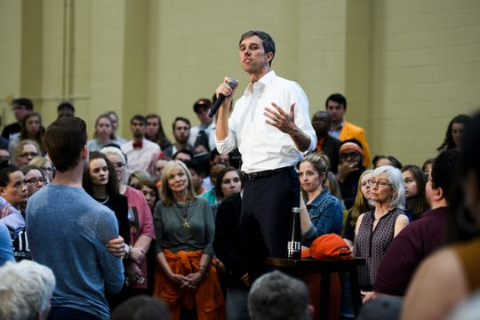 Democratic presidential hopeful Beto O'Rourke speaks at a rally at Clemson University's Fike Recreation Center Sunday, April 14, 2019.