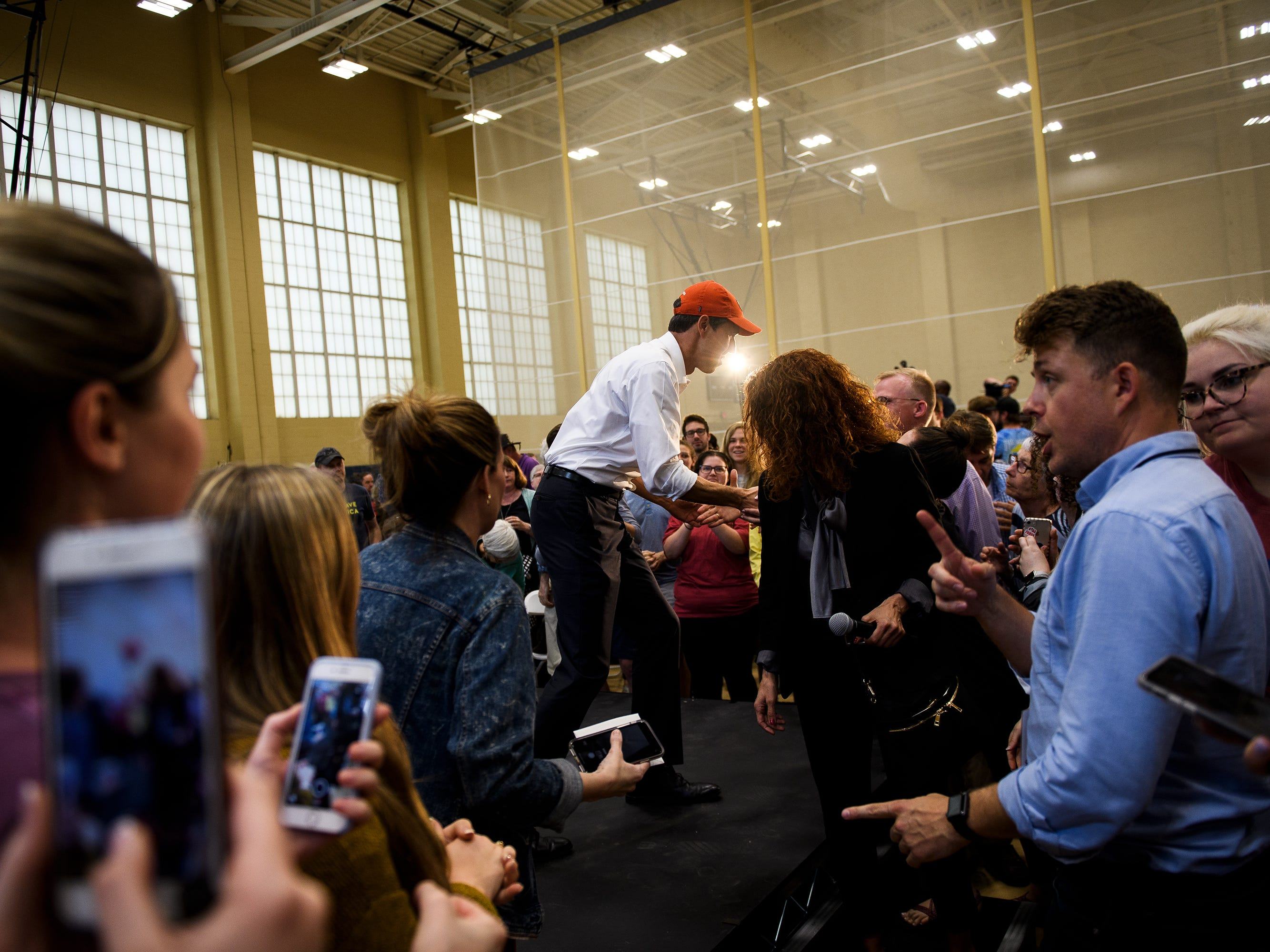 Democratic presidential hopeful Beto O'Rourke shakes hands with supporters as he ends his rally at Clemson University's Five Recreation Center Sunday, April 14, 2019.