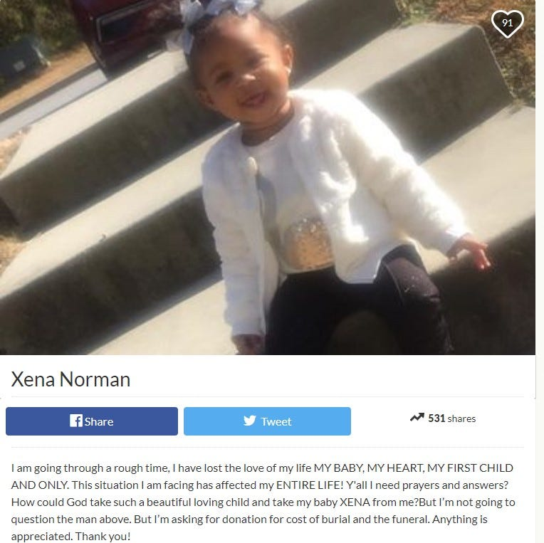 Spartanburg mom seeks funeral donations for baby found dead after fiery police chase