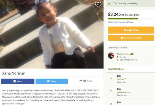 A screenshot of the GoFundMe created for Xena Norman, who was killed when the vehicle she was riding in burst into flames as it fled police Friday night.