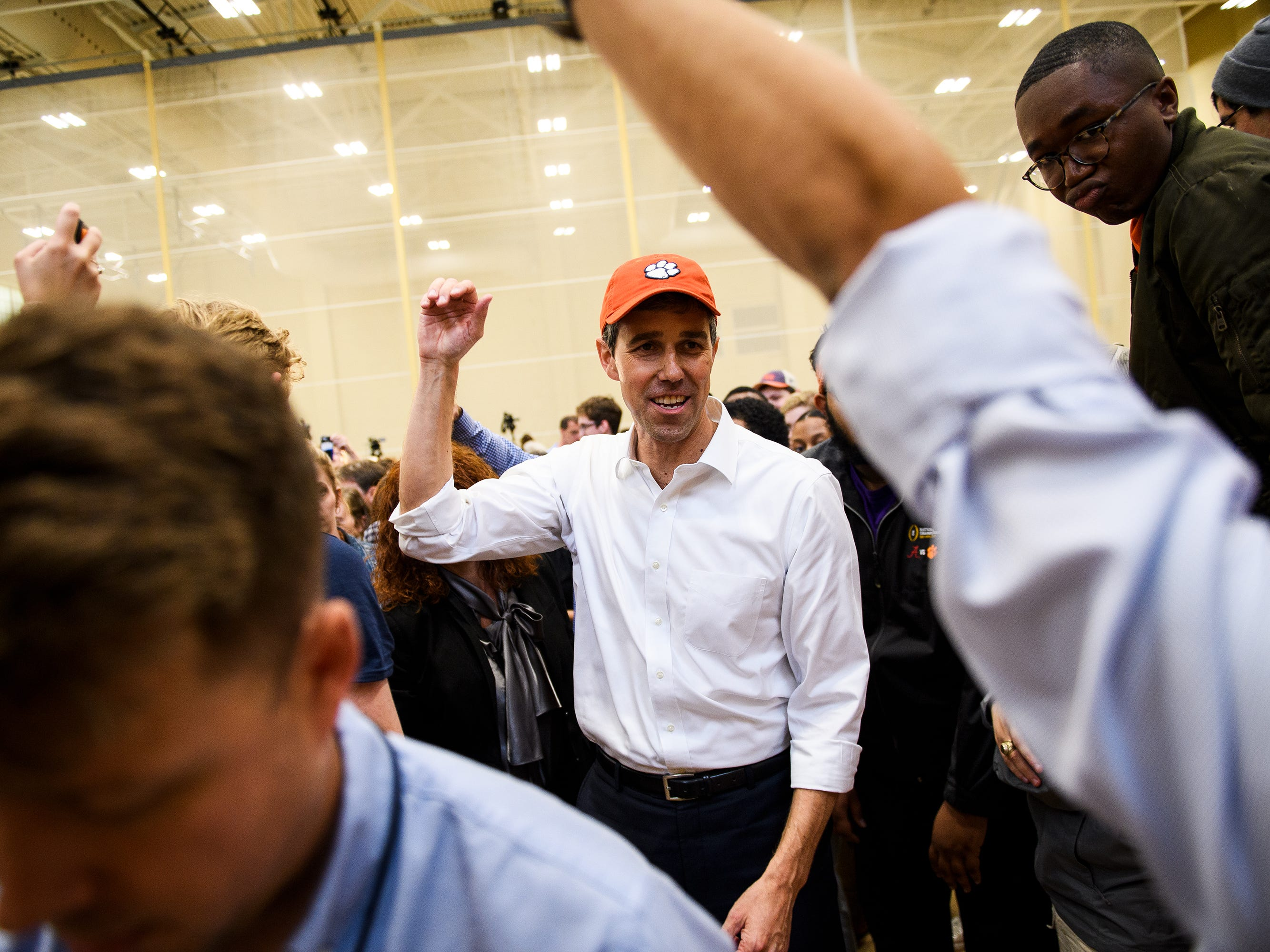 Democratic presidential hopeful Beto O'Rourke walks off the stage during his rally at Clemson University's Five Recreation Center Sunday, April 14, 2019.
